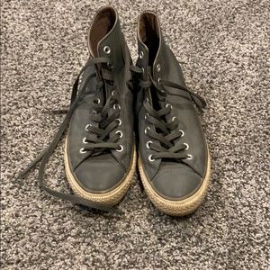 Size 9 1/2 gray converses leather